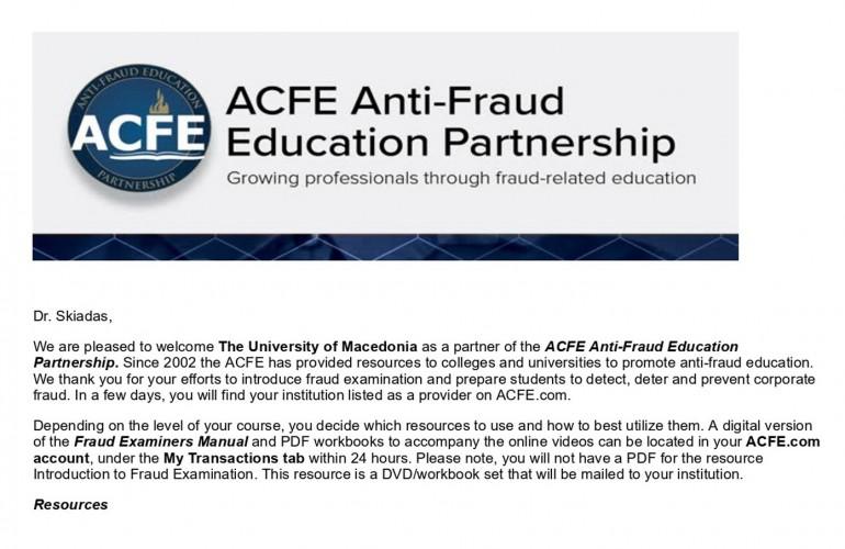 Το Πανεπιστήμιο Μακεδονίας μέσω του Τμήματος Διεθνών και Ευρωπαϊκών Σπουδών μέλος της παγκόσμιας πρωτοβουλίας «ACFE Antifraud Education Partnership»