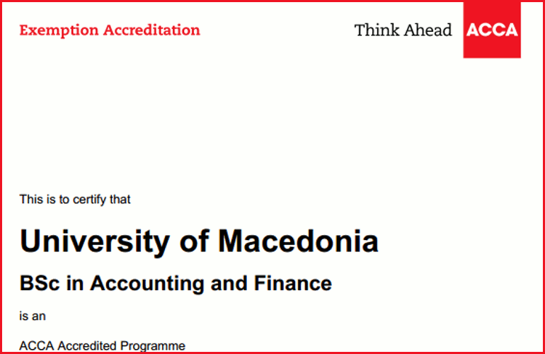 Five-year certification and examination exemption by ACCA for the Department of Accounting and Finance