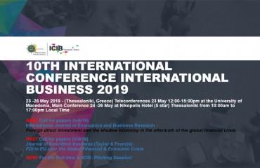 10th International Conference on International Business (ICIB 2019) , 23-26.5.2019
