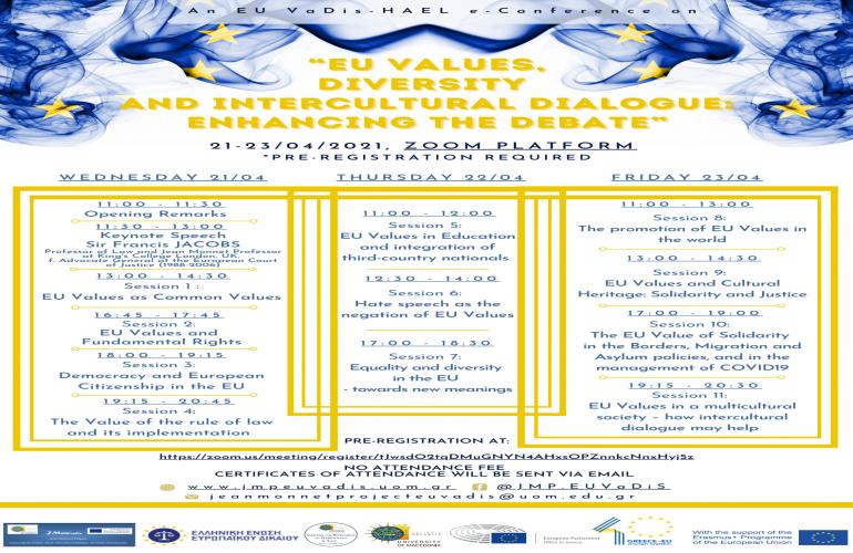 Τριήμερο Διεθνές Συνέδριο «Αξίες της Ευρωπαϊκής Ένωσης, Πολυμορφία και Διαπολιτισμικός Διάλογος: Ενισχύοντας τη Συζήτηση», 21-23 Απριλίου 2021